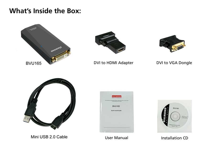 Diamond BVU165 HD USB 2.0 VGA DVI HDMI Adapter