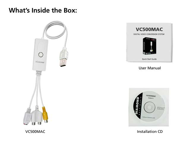 Diamond Multimedia VC500MAC USB 2 0 One Touch VHS to DVD Video Capture  Device (MacOS)