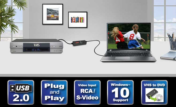 Diamond VC500 USB 2 0 One Touch VHS to DVD Video Capture Device with Easy  to use Software, Convert, Edit and Save to Digital Files