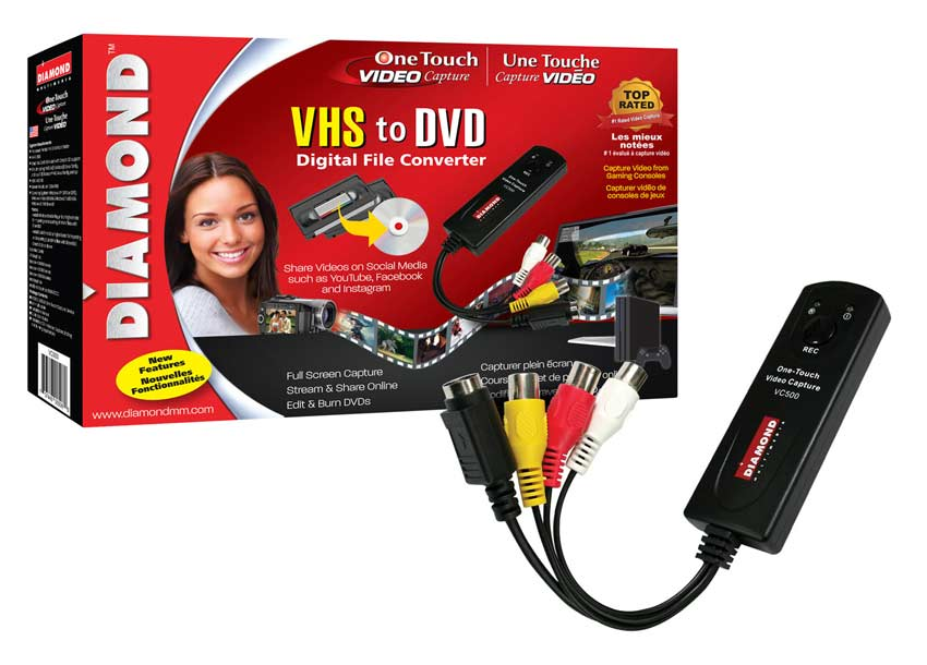 Diamond vc500 usb 2. 0 one touch vhs to dvd video capture device.