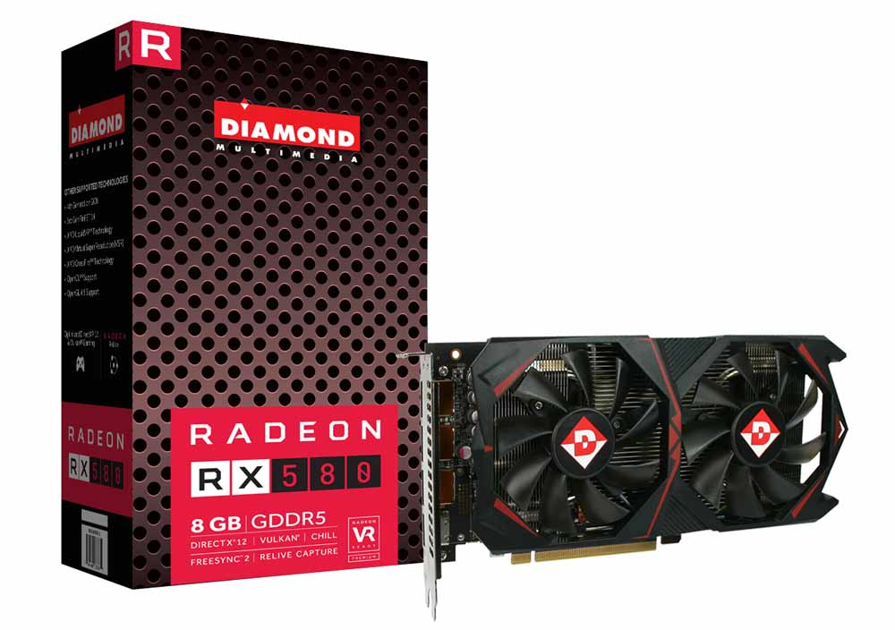 Diamond AMD RX 580 PCIE GDDR5 8GB Memory Video Card (RX580D58G)