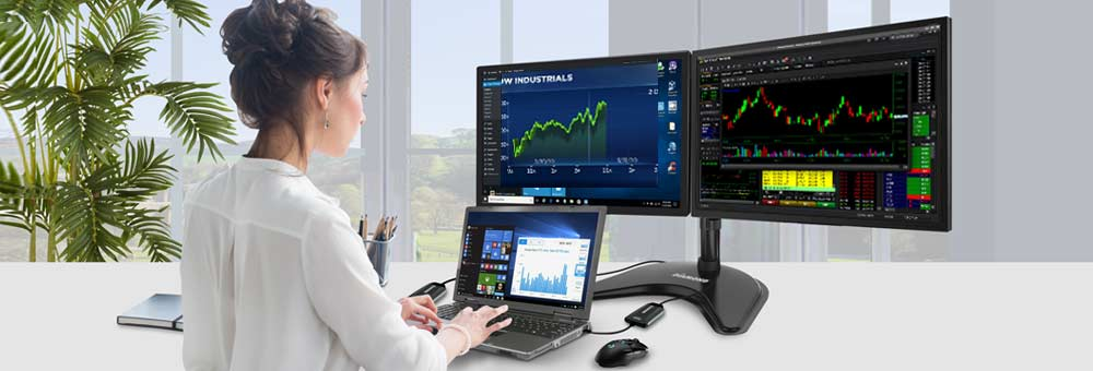 Stocktrader using BVU multi-monitor USB Video Adapter